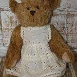 Peluche - OURS FILLE ROBE BRODEE